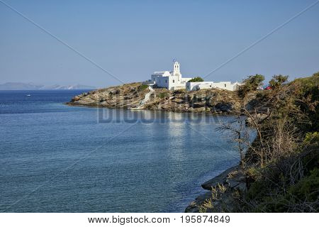 Beautiful view of the monastery of Chrissopigi  the protector of Sifnos in Greece
