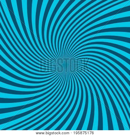 Spiral abstract background - vector graphic from cyan twisting rays