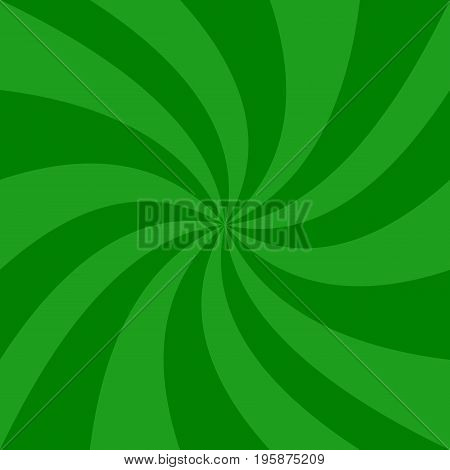Green abstract spiral background - vector graphic design from spinning rays