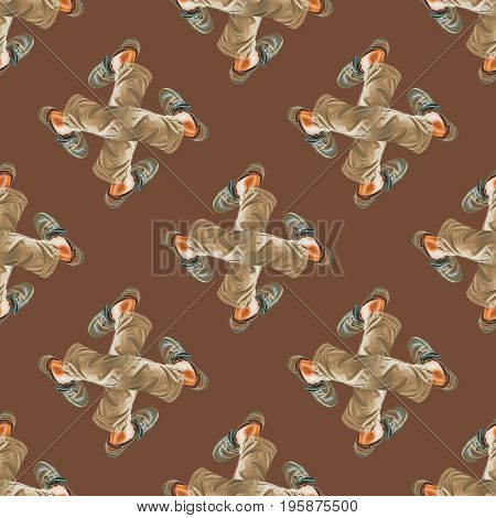Conversational seamless pattern design with man legs motif in warm colors