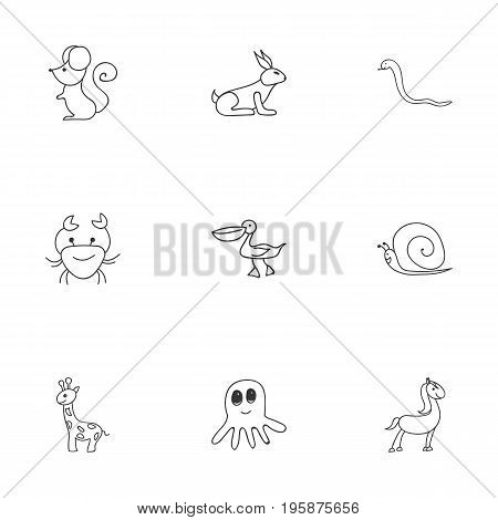 Set Of 9 Editable Zoo Doodles. Includes Symbols Such As Cancer, Serpent, Squid And More