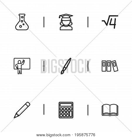 Set Of 9 Editable Teach Outline Icons. Includes Symbols Such As Calculate, Book, Formula And More
