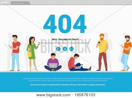 404 error page not found concept illustration of young people using mobile smarthone and laptop for web browsing. Flat design of guys and women standing into 404 error browser webpage frame