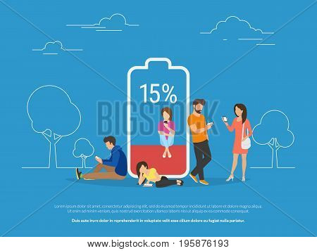 Battery low concept vector illustration of young people using smartphones and tablets with poor battery level. Flat people standing and sitting near big red battery symbol
