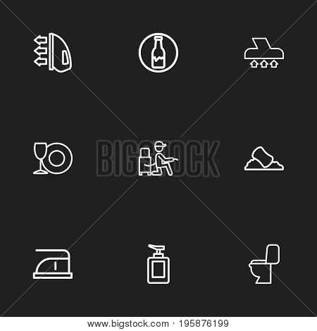 Set Of 9 Editable Cleaning Outline Icons. Includes Symbols Such As Vacuuming, Vacuum Cleaner, Lavatory And More