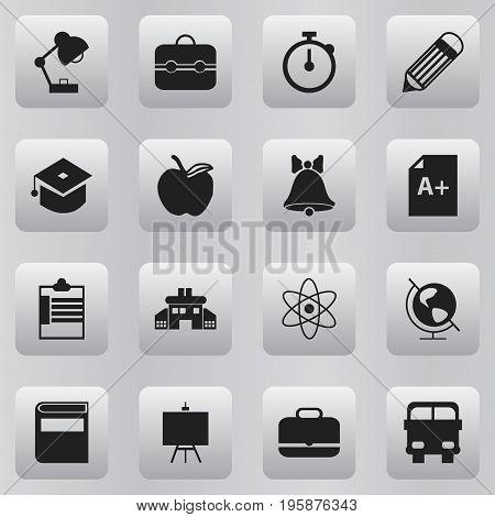 Set Of 16 Editable Knowledge Icons. Includes Symbols Such As Transport Vehicle, Kindergarten, Page And More