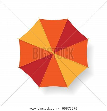 Red and yellow umbrella from the top isolated on white. Vector illustration.