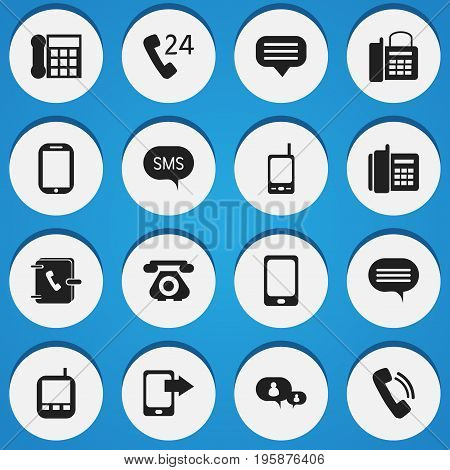 Set Of 16 Editable Gadget Icons. Includes Symbols Such As Talking, Office Telephone, Calling Device And More