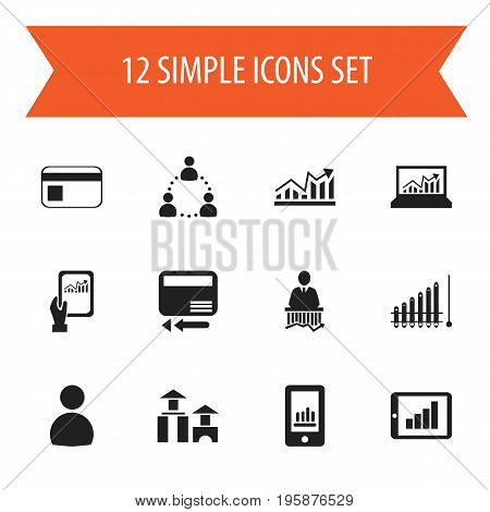 Set Of 12 Editable Analytics Icons. Includes Symbols Such As Bar Chart, Growth, Architecture And More