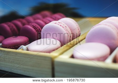 Set of different french colorful cookies macaroons