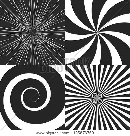 Set of psychedelic spiral with radial rays, swirl, twisted cosmics effect, vortex backgrounds vector