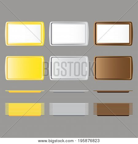 Set of rectangular yellow, white, brown plastic tray salver with handles top view. Vector illustration