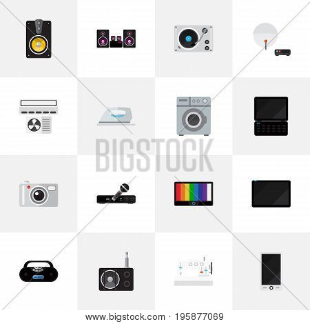 Set Of 16 Editable Home Flat Icons. Includes Symbols Such As Camera, Cellphone, Tuner And More