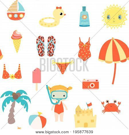 Cute summer seamless pattern with sun ice cream and other beach elements for kids clothes and backgrounds for invitations