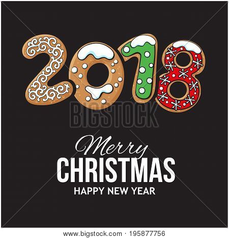 2018 Merry Christmas and New Year greeting card design with gingerbread cookies, sketch vector illustration on blackbackground. Christmas and New Year greeting card, banner with gingerbread cookies