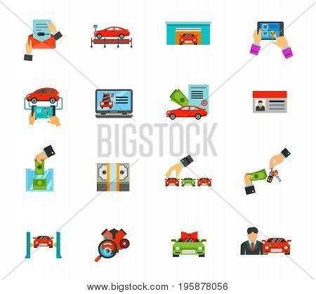 Auto icon set. Car document Exhibition pavilion Garage Online test Diagnostic Selling website Loan Driver license Paying Money bundle Choosing Buying Lifting Engine diagnostic Special offer Salesman