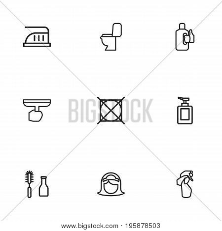 Set Of 9 Editable Hygiene Outline Icons. Includes Symbols Such As Window Cleaner, Maximum Power, Maid And More