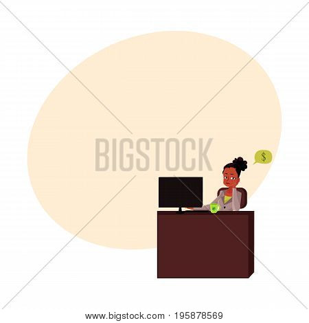 Black, African American businesswoman, secretary, sitting in office, thinking of money, cartoon vector illustration with space for text. Black businesswoman, secretary thinking of money