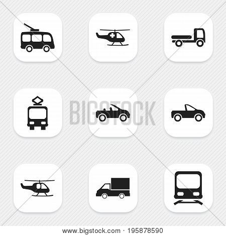 Set Of 9 Editable Transport Icons. Includes Symbols Such As Haulage, Omnibus, Camion And More