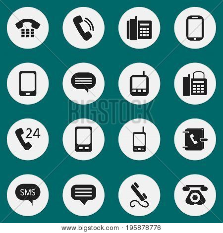 Set Of 16 Editable Gadget Icons. Includes Symbols Such As Call, Forum, Telecommunication And More