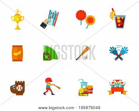 Baseball icon set. Cup champion Support group attribute Baseball field Bat Clap hand toy Catcher leather glove Baseball player Sport fans. Bonus icons of Tickets Cold drink Potato chips Fast food
