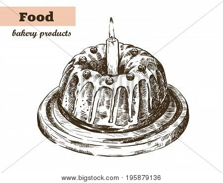 Holiday cake with glaze and berries. homemade baking. bakery products. vector sketches on white background
