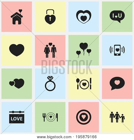 Set Of 16 Editable Amour Icons. Includes Symbols Such As Heartbeat, Home, Dartboard And More