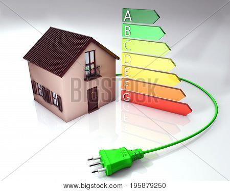 Energy classes with home model and cable - 3D rendering