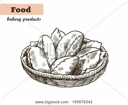 dish with pies. homemade baking. bakery products. vector sketches on white background