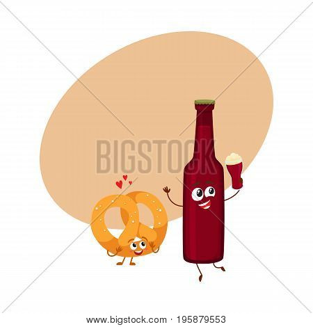 Funny beer bottle and salty pretzel characters having fun, celebrating together, cartoon vector illustration with space for text. Funny smiling beer bottle and pretzel characters