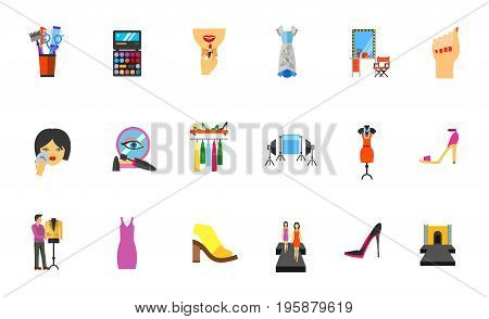 Beauty industry icon set. Combs Palette Lipstick Makeup table Manicure Powder Mascara Wardrobe Shooting scene Evening dress Footwear Designer Sundress Model Fashion show runaway. Bonus icon of Muumuu
