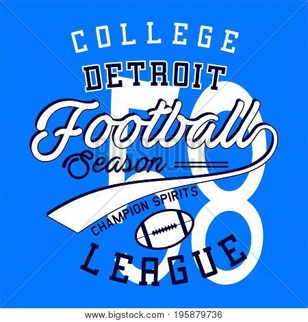 graphic design college football league for shirt and print