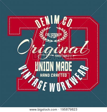 graphic design denim california original for shirt and print