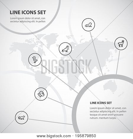 Set Of 6 Editable Zoology Outline Icons. Includes Symbols Such As Deer, Gorilla, Wildcat And More