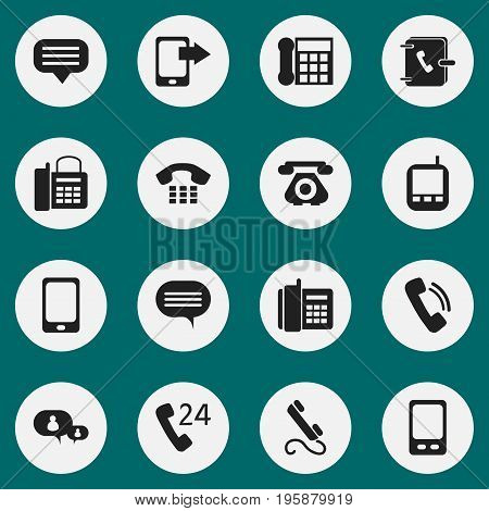 Set Of 16 Editable Device Icons. Includes Symbols Such As Office Telephone, Home Cellphone, Phone And More