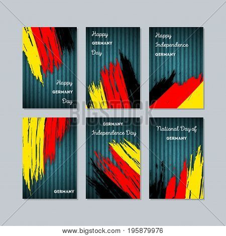 Germany Patriotic Cards For National Day. Expressive Brush Stroke In National Flag Colors On Dark St