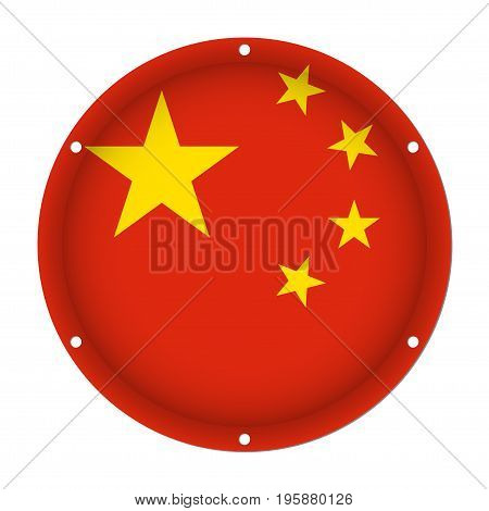 round metallic flag of China with six screw holes in front of a white background