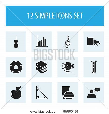 Set Of 12 Editable Education Icons. Includes Symbols Such As Encyclopedia, Flask, Propeller And More