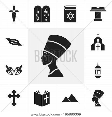 Set Of 12 Editable Faith Icons. Includes Symbols Such As Poniard, Orator Tribune, Minaret And More