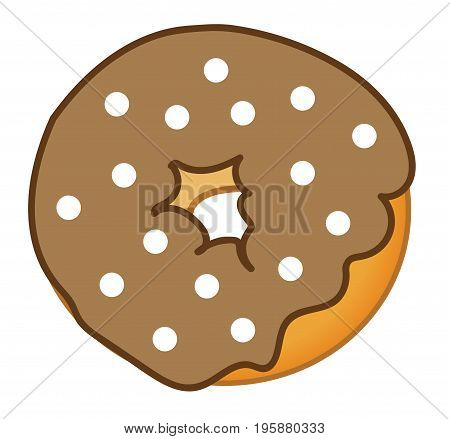 Isolated Yummy Chocolate Frosted Tasty Sweet Donut
