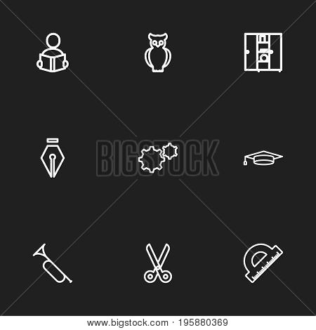 Set Of 9 Editable Education Outline Icons. Includes Symbols Such As Inkpen, Bird, Learning And More