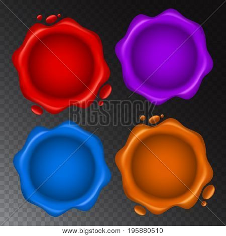 Vector Set Of Wax Seal With Small Drops Isolated On Transparent Background