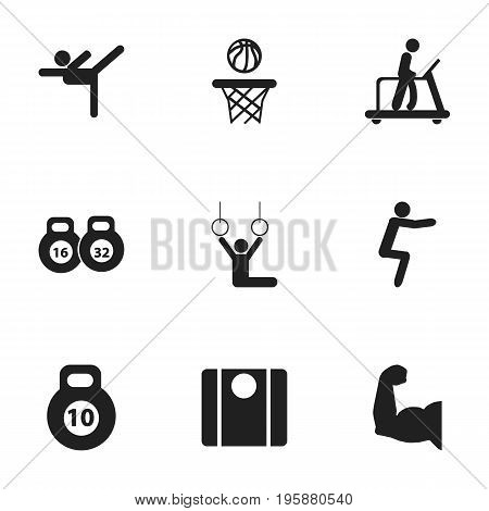 Set Of 9 Editable Exercise Icons. Includes Symbols Such As Executing Running, Weightlifting, Acrobatics And More