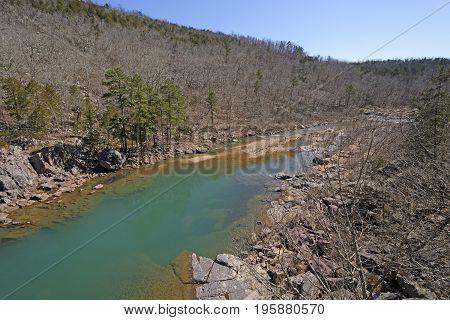Aqua Colored Pond in a Wilderness Stream in Johnsons Shut-ins State Park in Missouri