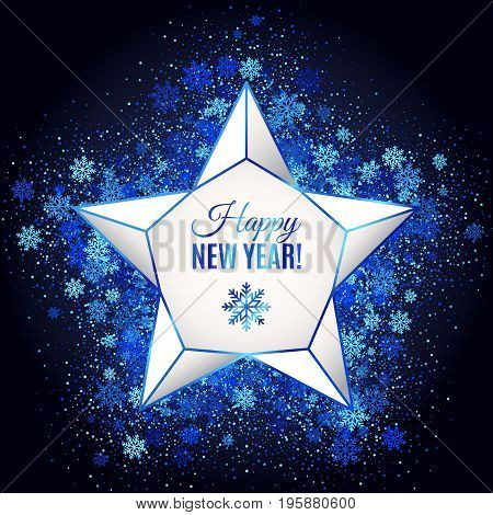 Happy New Year Greeting Card with Shimmer Geometric Lattice Star on Blue Glowing Background of snowflakes and circles. Vector Illustration. All isolated