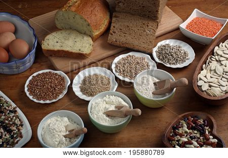 ZAGREB, CROATIA - SEPTEMBER 20: Ingredients for whole grain healthy bread, whole wheat flour, Zagreb, Croatia on September 20, 2016.