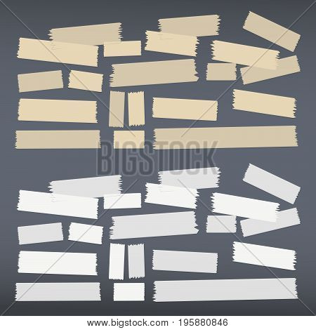 White, brown different size adhesive, sticky tape, paper pieces