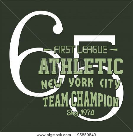 graphic design first league athletic for shirt and print
