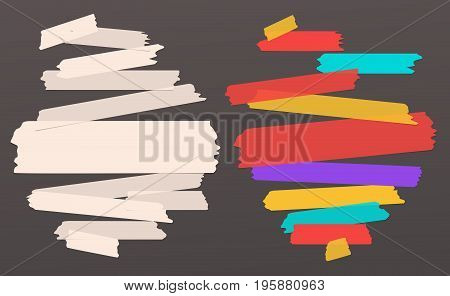 Colorful, beige different size adhesive, sticky tape, paper pieces