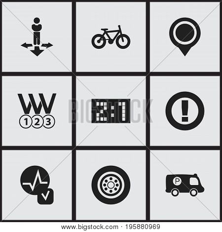 Set Of 9 Editable Complex Icons. Includes Symbols Such As Medals, Caution, Police Vehicle And More